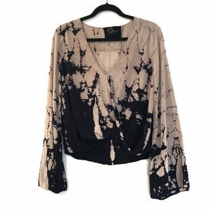 [BLUELIFE] Cropped long sleeved tie dye ombre top